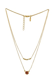 Gold Plated Aries Birthstone Necklace by Zariin