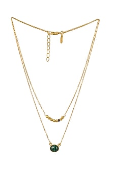 Gold Plated Libra Birthstone Necklace by Zariin