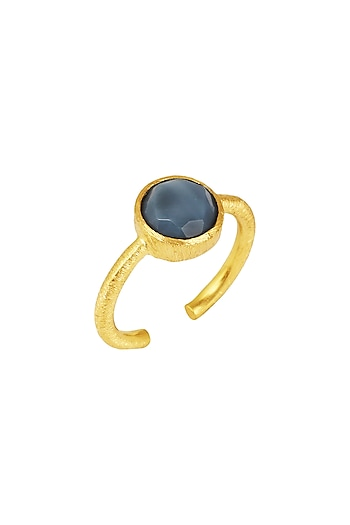 Gold Plated Blue Opal Ring by Zariin