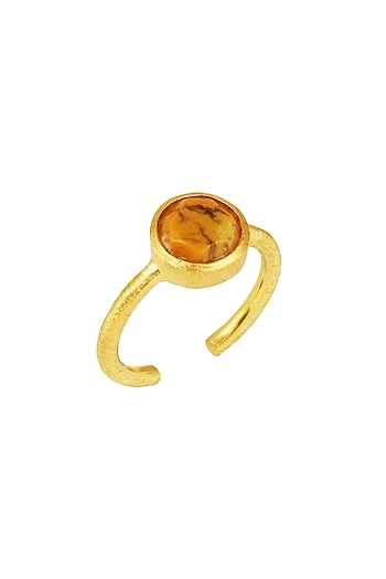 Gold Plated Yellow Opal Ring by Zariin