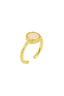 Gold Plated Moonstone Ring by Zariin