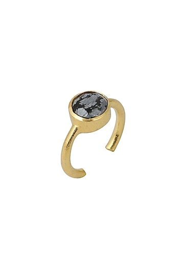 Gold Plated Black Obsidian Ring by Zariin