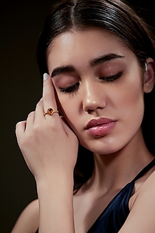 Gold Plated Citrine Ring by Zariin