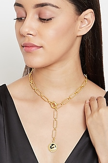 Gold Plated Capricorn Sea Goat Necklace by Zariin