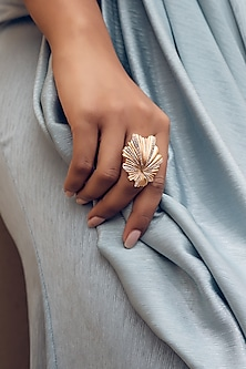 Rose Gold Finish Ring With CZ by Zariin