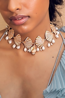 Rose Gold Finish Pearl Choker Necklace by Zariin