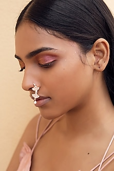 Rose Gold Finish CZ & Pearl Nose Ring by Zariin