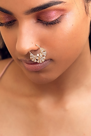 Rose Gold Finish Pearl Nose Ring by Zariin