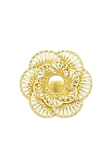 Gold Plated Two Layer Flower Finger Ring by Zariin
