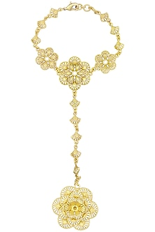 Gold Plated Floral Haath Phool by Zariin