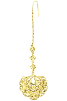 Gold Plated Multi-Layer Petal Maang Tikka by Zariin