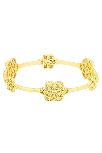 Gold Plated Flower Motif Bangle by Zariin