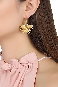 Gold Plated Three Petal Earrings by Zariin