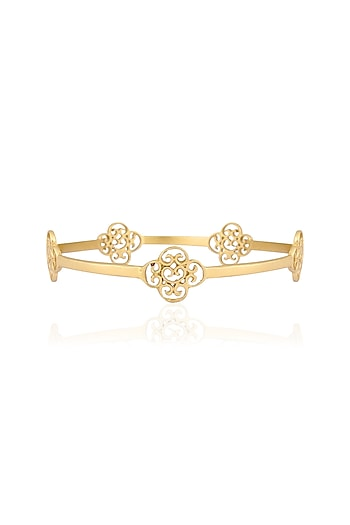 Gold plated flower cut out motif bangle by Zariin
