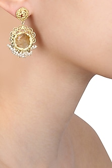 Gold plated citrine stone and pearl beads earrings by Zariin