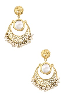 Gold plated baroque pearl crescent earrings by Zariin