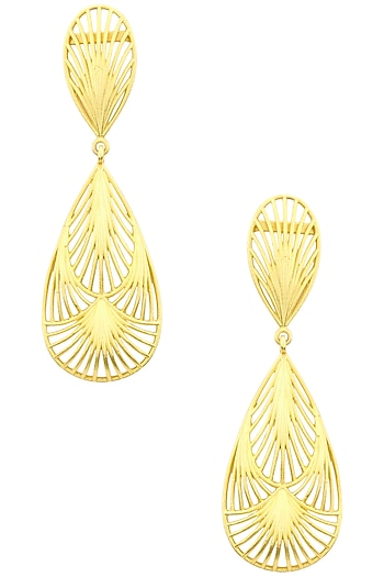 Gold Plated Two Drop Petal Earrings by Zariin