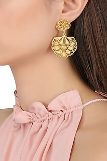 Gold Plated Multi-Layer Petal Earrings by Zariin