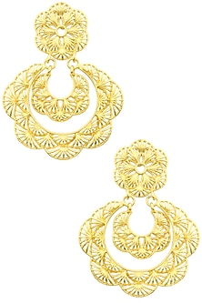 Gold Plated Layered Drop Earrings by Zariin