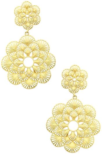Gold Plated Two Drop Flower Earrings by Zariin