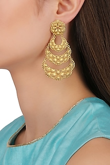 Gold Plated Crescent Layered Earrings by Zariin