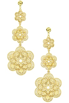 Gold Plated Three Drop Flower Earrings by Zariin