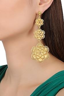 Gold Plated Three Drop Flower Earrings by Zariin