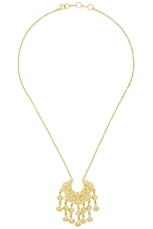 Gold Plated Abstract Hanging Necklace by Zariin