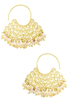 Gold Plated Pearl Bead Earrings by Zariin