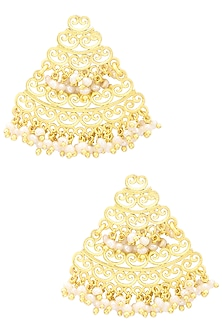 Gold Plated White Pearl Earrings by Zariin