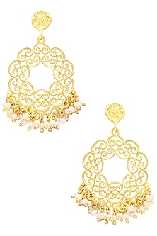 Gold Plated White Pearl Bead Earrings by Zariin