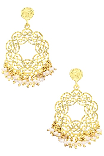 Gold Plated White Pearl Bead Earrings by Zariin
