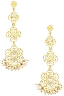 Gold Plated Long Pearl Bead Earrings by Zariin