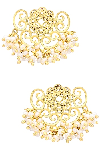 Gold Plated Pearl Bead Stud Earrings by Zariin