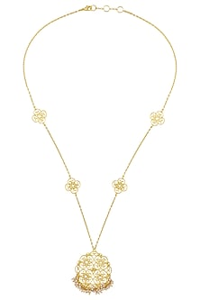 Gold Plated Pearl Beads Necklace by Zariin