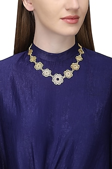 Gold Plated Floral Pearl Beads Necklace by Zariin