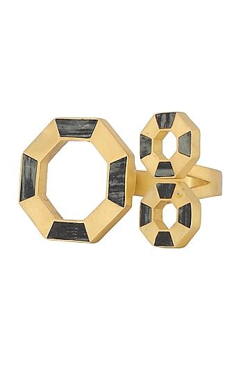 Gold Plated Octagonal Moftail Jasper Ring by Zariin