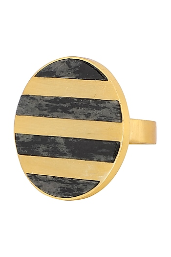 Gold Plated Circular Moftail Jasper Ring by Zariin