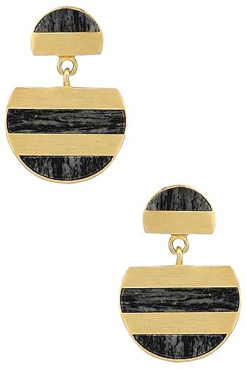 Gold Plated Semi Circle Drop Earrings by Zariin