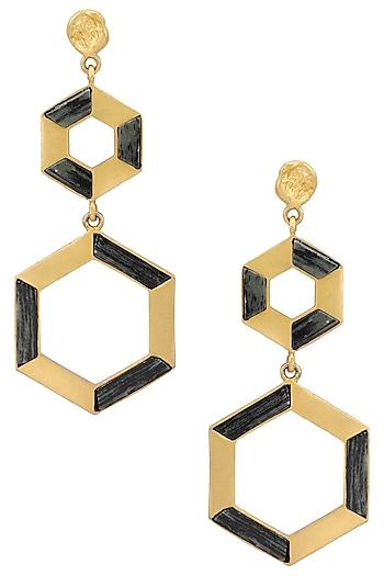 Gold Plated Double Hexagonal Drop Earrings by Zariin