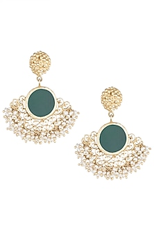 Gold Plated Green Chalcedony Earrings by Zariin