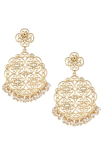 Gold Plated Round Earrings by Zariin