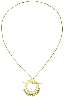 Gold Plated Filigree Pearl Hangings Pendant Necklace by Zariin
