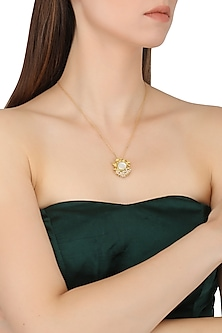 Gold Plated Filigree Mother Of Pearl Pendant Necklace by Zariin