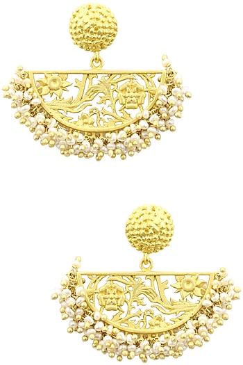 Gold Plated Half Moon Drop Filigree Pearl Earrings by Zariin