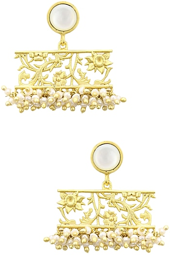 Gold Plated Filigree Mother Of Pearl Drop Earrings by Zariin