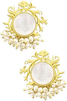 Gold Plated Filigree Mother Of Pearl Stud Earrings by Zariin-POPULAR PRODUCTS AT STORE