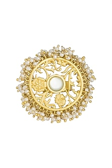 Gold Plated Mother Of Pearl Ring by Zariin