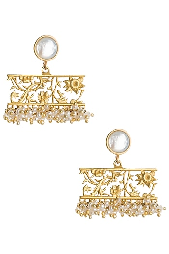 Gold Plated Mother Of Pearl and Beads Earrings by Zariin