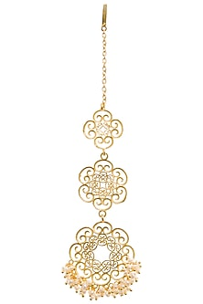 Gold Plated Pearl Beads Maangtika by Zariin